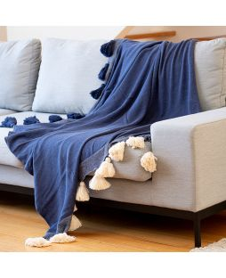100% Cotton Knitted Throw Rug with Tassels - Navy