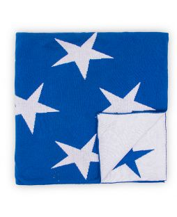 100% Cotton Knitted Throw Rug - Blue / White Stars