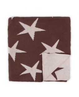 100% Cotton Knitted Throw Rug -  Brown / Natural Stars
