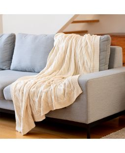 100% Cotton Cable Knit Throw - Beige