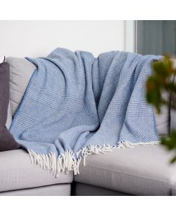 Alpaca Wool Throw Rug - Combo Blue