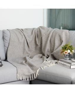 Alpaca Wool Throw Rug - Combo Light Grey