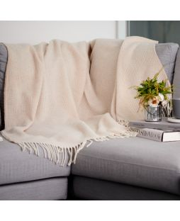 Alpaca Wool Throw Rug - Combo Cream