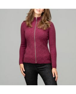 Possum Yamba Cable Knit Cardigan Red Violet