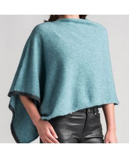 Two Tone Possum Poncho - Mist
