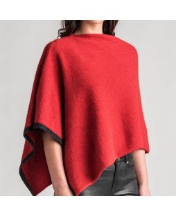 Two Tone Possum Poncho - Redcurrant