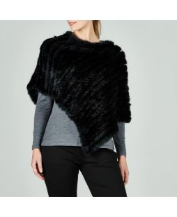 Rabbit Fur Poncho Black