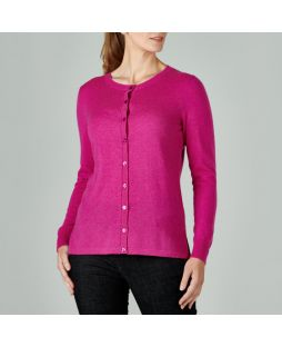 Merino Wool Brilliant Cardigan Fuschia