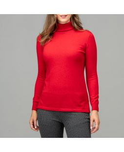 Merino Iconic Roll Neck Sweater Red