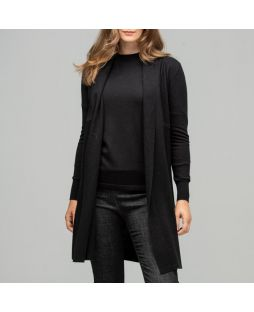 Merino Edge to Edge Cardigan Black