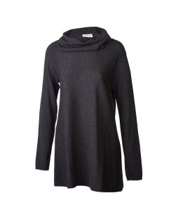 Merino Cowl Neck Tunic Charcoal Marle