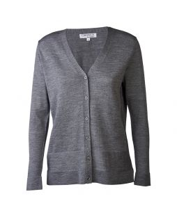 Jersey Vee Neck Cardigan Grey Marle