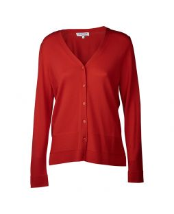 Merino Jersey Vee Neck Cardigan Red