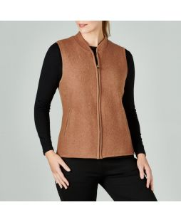 Boiled Wool Vest Camel