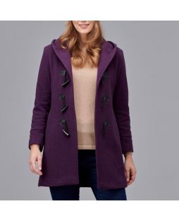 Woollen Hooded Duffle Coat - Amethyst
