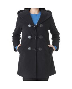 Woollen Hooded Duffle Coat Black