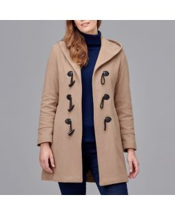 Woollen Hooded Duffle Coat - Camel