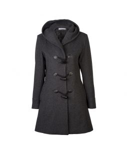 Woollen Hooded Duffle Coat Charcoal