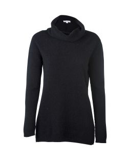 Possum Merino Roll Neck Sweater Black