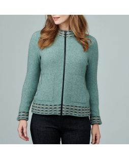 Possum Wave Trim Zip Cardi - Mint