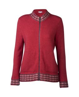 Wave Trim Zip Cardi Red