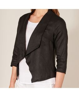 Open 3/4 Sleeve Linen Jacket - Black