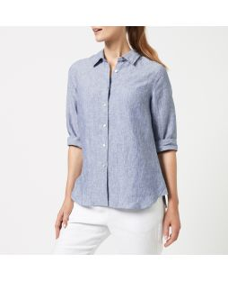 Linen 3/4 Sleeve Shirt - Denim Marle