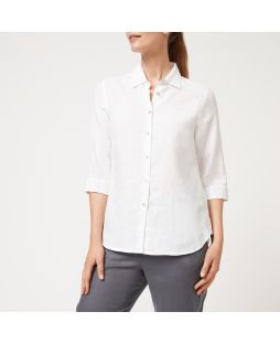 Linen 3/4 Sleeve Shirt - White
