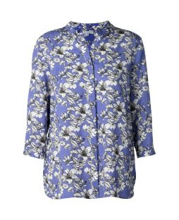 Tencel Blouse 3/4 Sleeve Stencil Floral Periwinkle
