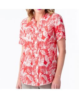 Cotton Silk Pintuck Short Sleeve Shirt Leaf Print