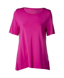 Bamboo Crew Neck Short Sleeve T-Shirt Magenta