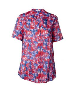 Cotton Voile Short Sleeve Shirt Rose Red