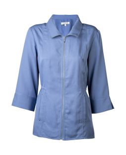 Tencel Zip Up Shirt Jacket Denim Blue