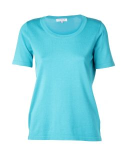 Short Sleeve Knitted Top Turquoise