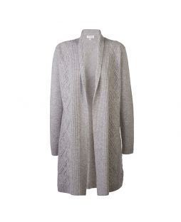Merino Cable Knit Cardigan Grey Marle