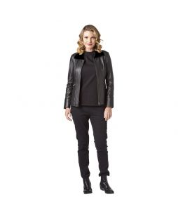 Leather Zip-Front Jacket Black