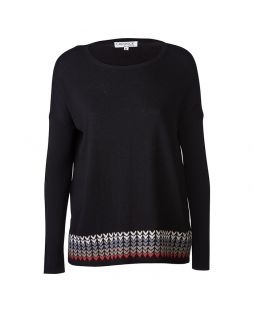Merino Crew Neck W/ Patterned Hem Black