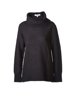 Boiled Wool Roll Neck Sweater Black
