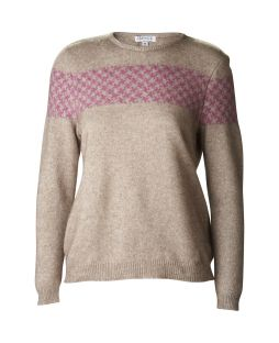 Houndstooth Crew Neck Jersey Mocha/Heather
