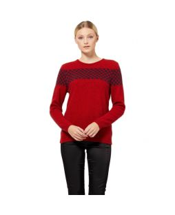 Houndstooth Crew Neck Jersey Red/Navy