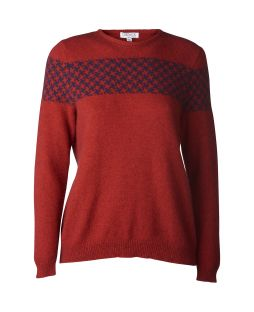 Possum Houndstooth Crew Neck Red / Navy