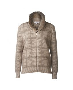Possum Fur Trim Bomber Jacket Mocha / Bark