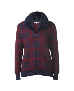 Possum Fur Trim Bomber Jacket Navy / Red