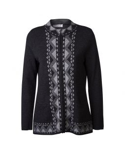 Aztec Wool Zip-Up Cardigan Dk Charc / Light Charc