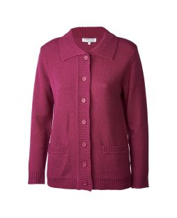 Lambswool Cardigan W/ Collar and Pockets Mauve