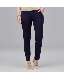 Slim Leg Zip Detail Pant - Navy