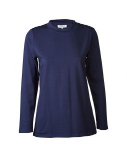 Cotton Mock Turtleneck Navy