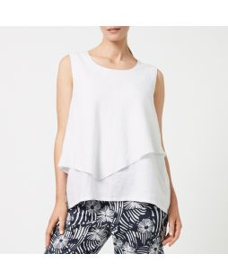 Double Layer Linen Top - White