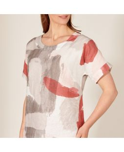 Linen Printed Top - Brick Pattern