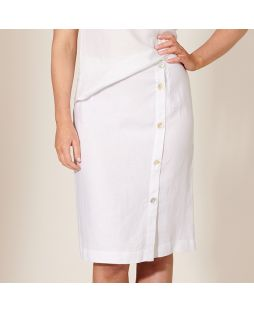 W837 WHI|Linen Buttoned Detail Skirt - White